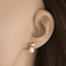 Zlaté náušnice 375 - malý motýlik s vyrezávaným krídlom, biela perla