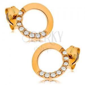 Zlaté náušnice 375 - obrys kruhu s čírou zirkónovou polovicou, 7 mm