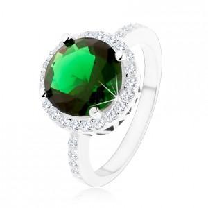Prsteň zo striebra 925, okrúhly smaragdovozelený zirkón, číry zirkónový lem