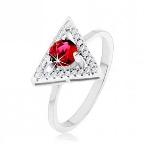 Strieborný 925 prsteň - zirkónový obrys trojuholníka, okrúhly červený zirkón