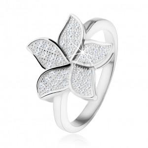 Strieborný prsteň 925, trblietavý zirkónový kvet čírej farby