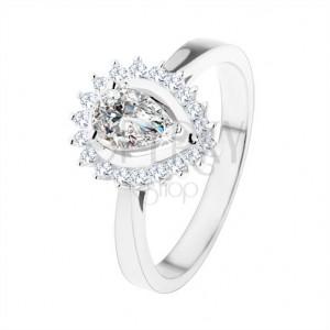 Zásnubný prsteň zo striebra 925, ligotavá kvapka z čírych zirkónov