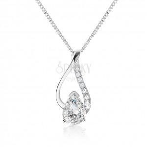 Strieborný náhrdelník 925, nesúmerná kontúra kvapky s čírou zirkónovou slzou