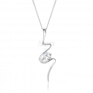 Strieborný 925 náhrdelník, asymetricky vlniaca sa stuha, číry zirkón