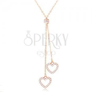 Strieborný 925 náhrdelník medenej farby, dve kontúry sŕdc na retiazkach