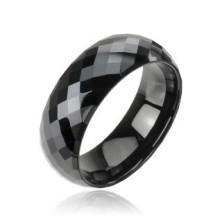 Tungstenový - Wolfrámový prsteň čierny vzor disco