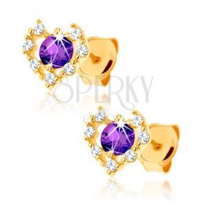 Zlaté náušnice 375 - číry zirkónový obrys srdca, fialový ametyst