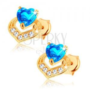Náušnice v 9K žltom zlate - srdiečkový modrý topás, trblietavý obrys srdca