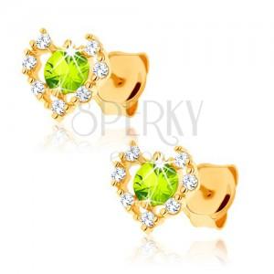 Náušnice zo žltého 9K zlata - číry zirkónový obrys srdca, zelený olivín
