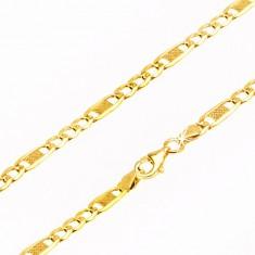 8ebb46f26 Šperky eshop - Retiazka zo žltého 9K zlata, tri oválne očká a jedno dlhšie  s mriežkou, 500 mm GG69.29