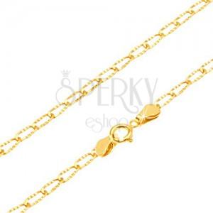 Náramok zo žltého 14K zlata - lesklé podlhovasté očká s ryhovaním, 180 mm