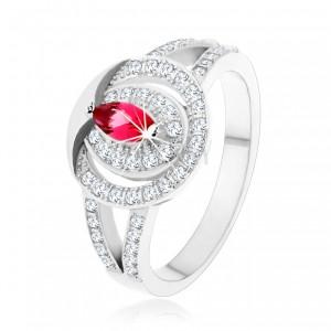 Strieborný 925 prsteň, číra zirkónová obruč s ružovým zirkónom