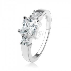 Zásnubný trblietavý prsteň, štvorcové zirkóny čírej farby, striebro 925