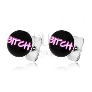 """Náušnice z chirurgickej ocele, nápis """"BITCH"""" na čiernom podklade"""