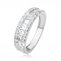 """Šperky eshop - Strieborný 925 prsteň - nápis """"I LOVE YOU"""", pásy čírych zirkónov HH1.15 - Veľkosť: 48 mm"""