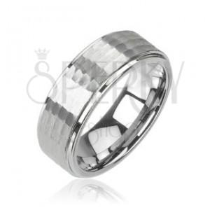 Tungstenový - Wolfrámový prsteň brúsený vzor