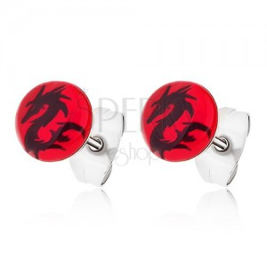 Červené puzetové náušnice z chirurgickej ocele, čínsky drak čiernej farby