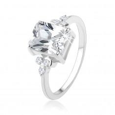 Šperky eshop - Prsteň zo striebra 925, masívny obdĺžnikový zirkón čírej farby HH1.17 - Veľkosť: 48 mm