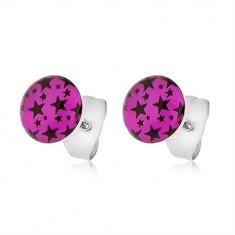 Oceľové náušnice, ružové kolieska s potlačou čiernych hviezdičiek