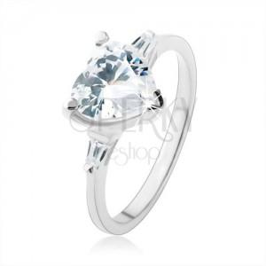 Zásnubný prsteň zo striebra 925, žiarivé zirkónové srdce čírej farby