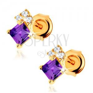 Zlaté náušnice 375 - ametystový štvorček fialovej farby, zirkóny