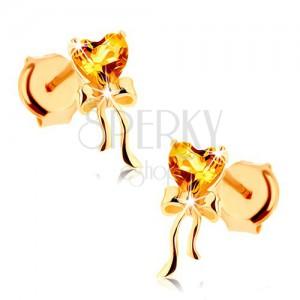 Náušnice zo žltého 9K zlata - citrínové srdiečko žltej farby, lesklá mašlička