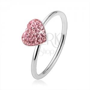 Strieborný prsteň 925 so svetloružovým zirkónovým srdcom