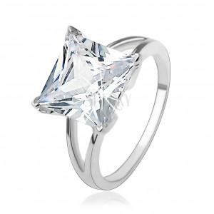 Zásnubný strieborný 925 prsteň s masívnym štvorcovým zirkónom
