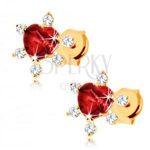 Zlaté náušnice 375 - srdiečkový granát červenej farby, číre zirkóniky