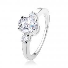 Zásnubný prsteň s tromi trblietavými zirkónmi, striebro 925