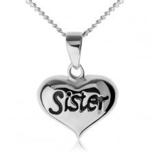 """Nastaviteľný náhrdelník, srdiečko s nápisom """"Sister"""", striebro 925"""