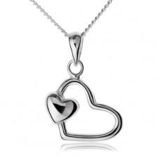 Retiazka s príveskom, striebro 925, kontúra srdca s malým srdiečkom