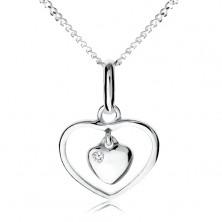 Náhrdelník zo striebra 925, malé srdiečko visiace v obryse srdca