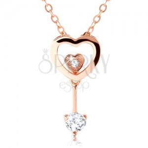 Strieborný 925 náhrdelník medenej farby, obrys srdca, dve malé srdiečka