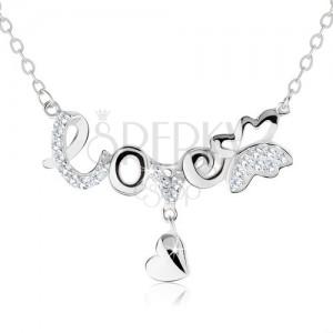 """Nastaviteľný náhrdelník, nápis """"love"""", motýlik, visiace srdiečko, striebro 925"""