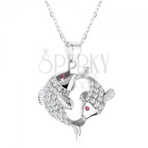 Strieborný 925 náhrdelník, dve trblietavé ryby, ružové zirkónové očká