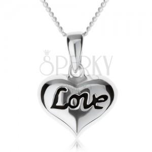 """Nastaviteľný náhrdelník, srdiečko s nápisom """"Love"""", striebro 925"""