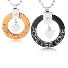 """Náhrdelníky pre dvoch z chirurgickej ocele, obrys kruhu, srdiečko, """"Forever love"""""""