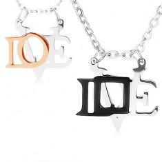 """Náhrdelníky z ocele 316L pre zamilovanú dvojicu, lesklé prívesky """"LOVE"""""""