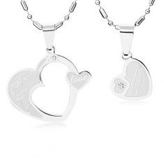 Sada oceľových náhrdelníkov pre dvojicu, srdcia striebornej farby, číre zirkóny