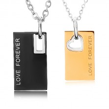 "Náhrdelníky z ocele 316L, známky s nápisom ""LOVE FOREVER"", dvojfarebné"