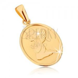 Zlatý prívesok 375 - oválna plochá známka, anjelik pri modlitbe