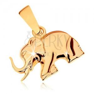 Prívesok zo žltého 9K zlata - ligotavý kráčajúci sloník