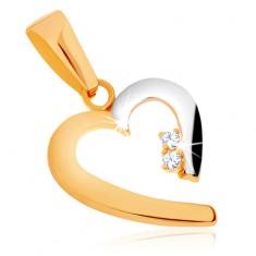 Lesklý prívesok v 9K zlate - dvojfarebný obrys neúplného srdca, zirkóny
