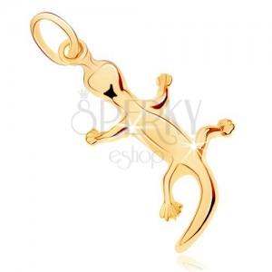 Zlatý prívesok 375 - jašterička so zahnutým chvostíkom