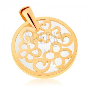 Prívesok zo žltého 9K zlata - kontúra kruhu s ornamentami, perleťový podklad