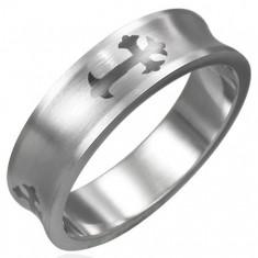 Šperky eshop - Prsteň z chirurgickej ocele kríž D1.18 - Veľkosť: 51 mm