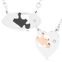 Náhrdelníky z chirurgickej ocele pre dvoch, ovál a srdce, dieliky puzzle, zirkón
