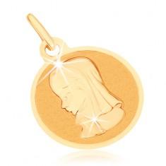Zlatý prívesok 375 - okrúhly plochý medailón, Panna Mária