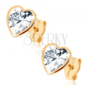Zlaté náušnice 375 - trblietavé srdce z brúseného zirkónu, lesklý lem